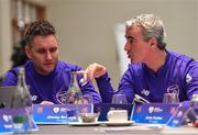 21 January 2019; Charlotte Independence head coach Jim McGuinness, right, and Jimmy Brennan during the FAI UEFA Pro Licence course at Johnstown House in Enfield, Co Meath. Photo by Seb Daly/Sportsfile