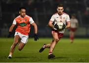 19 January 2019; Niall Sludden of Tyrone in action against Jemar Hall of Armagh during the Bank of Ireland Dr McKenna Cup Final match between Armagh and Tyrone at the Athletic Grounds in Armagh. Photo by Oliver McVeigh/Sportsfile