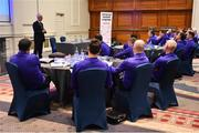 21 January 2019; Republic of Ireland manager Mick McCarthy speaking during the FAI UEFA Pro Licence course at Johnstown House in Enfield, Co Meath. Photo by Seb Daly/Sportsfile