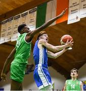 21 January 2019; Joe Coughlan of St Joseph's Bish, Galway in action against Roniel Oguekwe of Calasanctius College during the Subway All-Ireland Schools Cup U16 A Boys Final match between Calasantius College and St Joseph's Bish Galway at the National Basketball Arena in Tallaght, Dublin. Photo by David Fitzgerald/Sportsfile