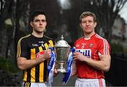 21 January 2019; Defending Allianz Hurling League Division 1 champions Kilkenny have a special incentive to win this year's competition, where another success would see them join Tipperary at the top of the honours' list. Half of Kilkenny's honours have been won since 2002, including a treble in 2012-13-14 and doubles in 2002-03 and 2005-06. Brian Cody's men begin their title defence at home to Cork, who were last crowned Allianz Hurling League champions in 1998. This will be the 27th year of Allianz' partnership with the GAA through their sponsorship of the Allianz Leagues, making it one of the longest sponsorships in Irish sport. It's a very concentrated programme this year, running between next weekend and March 24, when the Division 1 final will be played. In attendance at the launch arePaddy Deegan of Kilkenny, left, and Bill Cooper of Cork with the Allianz Hurling League Division 1 trophy. Photo by Brendan Moran/Sportsfile