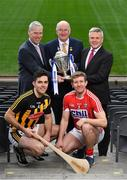 21 January 2019; Defending Allianz Hurling League Division 1 champions Kilkenny have a special incentive to win this year's competition, where another success would see them join Tipperary at the top of the honours' list. Half of Kilkenny's honours have been won since 2002, including a treble in 2012-13-14 and doubles in 2002-03 and 2005-06. Brian Cody's men begin their title defence at home to Cork, who were last crowned Allianz Hurling League champions in 1998. This will be the 27th year of Allianz' partnership with the GAA through their sponsorship of the Allianz Leagues, making it one of the longest sponsorships in Irish sport. It's a very concentrated programme this year, running between next weekend and March 24, when the Division 1 final will be played. In attendance at the launch are clockwise from top left, Peter Kilcullen, Chief Customer Officer, Allianz Ireland, Uachtaráin Cumann Lúthchleas Gael John Horan, Sean McGrath, CEO, Allianz Ireland, Paddy Deegan of Kilkenny, and Bill Cooper of Cork, with the Allianz Hurling League Division 1 trophy. Photo by Brendan Moran/Sportsfile