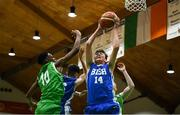 21 January 2019; Aonghus McDonnell of St Joseph's Bish, Galway, in action against Roniel Oguekwe of Calasanctius College, Oranmore, during the Subway All-Ireland Schools Cup U16 A Boys Final match between Calasantius College and St Joseph's Bish Galway at the National Basketball Arena in Tallaght, Dublin. Photo by David Fitzgerald/Sportsfile