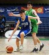 21 January 2019; Ben Powell of St Joseph's Bish, Galway, in action against Evan O'Rourke of Calasanctius College, Oranmore, during the Subway All-Ireland Schools Cup U16 A Boys Final match between Calasantius College and St Joseph's Bish Galway at the National Basketball Arena in Tallaght, Dublin. Photo by David Fitzgerald/Sportsfile