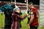 19 January 2019; Peter O'Mahony of Munster is interviewed by Sinead Kissane of Virgin Media Sport after to the Heineken Champions Cup Pool 2 Round 6 match between Munster and Exeter Chiefs at Thomond Park in Limerick. Photo by Diarmuid Greene/Sportsfile