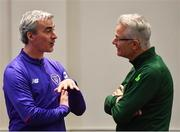 21 January 2019; Charlotte Independence head coach Jim McGuinness, left, FAI High Performance Director Ruud Dokter during the FAI UEFA Pro Licence course at Johnstown House in Enfield, Co Meath. Photo by Seb Daly/Sportsfile