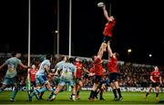 19 January 2019; Peter O'Mahony of Munster wins possession in a lineout during the Heineken Champions Cup Pool 2 Round 6 match between Munster and Exeter Chiefs at Thomond Park in Limerick. Photo by Diarmuid Greene/Sportsfile