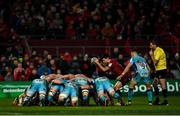 19 January 2019; Conor Murray of Munster prepares to put the ball into a scrum during the Heineken Champions Cup Pool 2 Round 6 match between Munster and Exeter Chiefs at Thomond Park in Limerick. Photo by Diarmuid Greene/Sportsfile