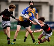 21 January 2019; Eoin Clarke of CBS Naas is tackled by Ross Molloy, left, and Andrew Whyte of The High School during the Bank of Ireland Fr. Godfrey Cup 2nd Round match between The High School and CBS Naas at Energia Park in Dublin. Photo by Sam Barnes/Sportsfile