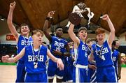 21 January 2019; St Joseph's Bish, Galway players celebrate with the trophy following the Subway All-Ireland Schools Cup U16 A Boys Final match between Calasantius College and St Joseph's Bish Galway at the National Basketball Arena in Tallaght, Dublin. Photo by David Fitzgerald/Sportsfile