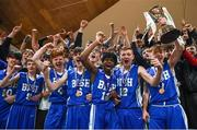 21 January 2019; St Joseph's Bish, Galway players and fans celebrate with the trophy following the Subway All-Ireland Schools Cup U16 A Boys Final match between Calasantius College and St Joseph's Bish Galway at the National Basketball Arena in Tallaght, Dublin. Photo by David Fitzgerald/Sportsfile