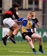21 January 2019; Samuel Kennedy of The High School is tackled by Jack Sheridan of CBS Naas during the Bank of Ireland Fr. Godfrey Cup 2nd Round match between The High School and CBS Naas at Energia Park in Dublin. Photo by Sam Barnes/Sportsfile
