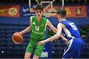 21 January 2019; Ben Burke of Calasanctius College, Oranmore, in action against Dean Coughlan of St Joseph's Bish, Galway, during the Subway All-Ireland Schools Cup U16 A Boys Final match between Calasantius College and St Joseph's Bish Galway at the National Basketball Arena in Tallaght, Dublin. Photo by David Fitzgerald/Sportsfile
