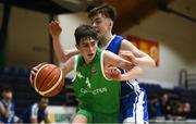 21 January 2019; Ben Burke of Calasanctius College, Oranmore, in action against Joe Coughlan of St Joseph's Bish, Galway, during the Subway All-Ireland Schools Cup U16 A Boys Final match between Calasantius College and St Joseph's Bish Galway at the National Basketball Arena in Tallaght, Dublin. Photo by David Fitzgerald/Sportsfile