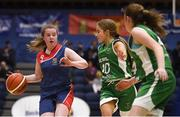 21 January 2019; Eimear Treacy of St. Mary's Ballina in action against Robyn Horan of Scoil Ruain Killenaule during the Subway All-Ireland Schools Cup U16 B Girls Final match between Scoil Ruain Killenaule and St Mary's Ballina at the National Basketball Arena in Tallaght, Dublin. Photo by David Fitzgerald/Sportsfile