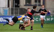 21 January 2019; Samuel Kennedy of The High School is tackled by Jack Sheridan, left, and Oscar Cawley of CBS Naas during the Bank of Ireland Fr. Godfrey Cup 2nd Round match between The High School and CBS Naas at Energia Park in Dublin. Photo by Sam Barnes/Sportsfile