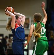 21 January 2019; Eimear Treacy of St Mary's Ballina in action against Robyn Horan of Scoil Ruain Killenaule during the Subway All-Ireland Schools Cup U16 B Girls Final match between Scoil Ruain Killenaule and St Mary's Ballina at the National Basketball Arena in Tallaght, Dublin. Photo by David Fitzgerald/Sportsfile