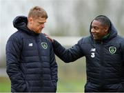 21 January 2019; Celtic FC Reserve team coach, and former Republic of Ireland international, Damien Duff, left, and Republic of Ireland assistant coach Terry Connor, right, during the FAI UEFA Pro Licence course at Johnstown House in Enfield, County Meath. Photo by Seb Daly/Sportsfile