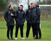 21 January 2019; Coaches, from left, Stephen Rice, Republic of Ireland assistant coach Robbie Keane, former Canada international Jimmy Brennan and Charlotte Independence head coach Jim McGuinness during the FAI UEFA Pro Licence course at Johnstown House in Enfield, County Meath. Photo by Seb Daly/Sportsfile