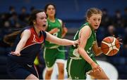 21 January 2019; Jess Strappe of Scoil Ruain Killenaule in action against Sinead Honan of St Mary's Ballina during the Subway All-Ireland Schools Cup U16 B Girls Final match between Scoil Ruain Killenaule and St Mary's Ballina at the National Basketball Arena in Tallaght, Dublin. Photo by David Fitzgerald/Sportsfile
