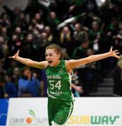 21 January 2019; Jess Strappe of Scoil Ruain Killenaule celebrates at the final whistle following the Subway All-Ireland Schools Cup U16 B Girls Final match between Scoil Ruain Killenaule and St Mary's Ballina at the National Basketball Arena in Tallaght, Dublin. Photo by David Fitzgerald/Sportsfile