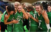 21 January 2019; Scoil Ruain Killenaule players celebrate following the Subway All-Ireland Schools Cup U16 B Girls Final match between Scoil Ruain Killenaule and St Mary's Ballina at the National Basketball Arena in Tallaght, Dublin. Photo by David Fitzgerald/Sportsfile