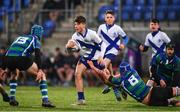 21 January 2019; Wilhelm De Klerk of St Andrew's College is tackled by Ewan Stephens of Gorey Community School during the Bank of Ireland Fr. Godfrey Cup 2nd Round match between St Andrews College and Gorey Community School at Energia Park in Dublin. Photo by Sam Barnes/Sportsfile