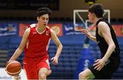 21 January 2019; Rodrigo Gonzalez of St Colaiste Muire Crosshaven in action against Jake Morris of St Pats Navan during the Subway All-Ireland Schools Cup U16 B Boys Final match between St Pats Navan and Colaiste Muire Crosshaven at the National Basketball Arena in Tallaght, Dublin. Photo by David Fitzgerald/Sportsfile