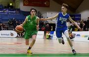21 January 2019; Ben Burke of Calasanctius College in action against Joe Coughlan of St Joseph's Bish, Galway during the Subway All-Ireland Schools Cup U16 A Boys Final match between Calasantius College and St Joseph's Bish Galway at the National Basketball Arena in Tallaght, Dublin. Photo by David Fitzgerald/Sportsfile
