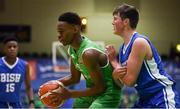 21 January 2019; Roniel Oguekwe of Calasanctius College in action against Aonghus McDonnell of St Joseph's Bish, Galway during the Subway All-Ireland Schools Cup U16 A Boys Final match between Calasantius College and St Joseph's Bish Galway at the National Basketball Arena in Tallaght, Dublin. Photo by David Fitzgerald/Sportsfile