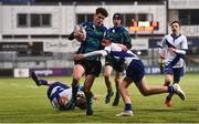21 January 2019; Pepe Papen of Gorey Community School is tackled by Wilhelm De Klerk of St Andrew's College during the Bank of Ireland Fr. Godfrey Cup 2nd Round match between St Andrews College and Gorey Community School at Energia Park in Dublin. Photo by Sam Barnes/Sportsfile