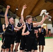 21 January 2019; St Pats Navan captain Ethan McBride lifts the trophy following the Subway All-Ireland Schools Cup U16 B Boys Final match between St Pats Navan and Colaiste Muire Crosshaven at the National Basketball Arena in Tallaght, Dublin. Photo by David Fitzgerald/Sportsfile