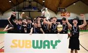 21 January 2019; St Pats Navan players celebrate following the Subway All-Ireland Schools Cup U16 B Boys Final match between St Pats Navan and Colaiste Muire Crosshaven at the National Basketball Arena in Tallaght, Dublin. Photo by David Fitzgerald/Sportsfile