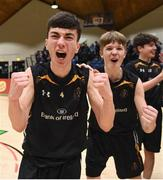 21 January 2019; Thomas Kerr, left, and Ethan McBride of St Pats Navan celebrate following the Subway All-Ireland Schools Cup U16 B Boys Final match between St Pats Navan and Colaiste Muire Crosshaven at the National Basketball Arena in Tallaght, Dublin. Photo by David Fitzgerald/Sportsfile