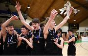 21 January 2019; St Pats Navan captain Ethan McBride lifts the trophy alongside team-mate Jake Morris, left, following the Subway All-Ireland Schools Cup U16 B Boys Final match between St Pats Navan and Colaiste Muire Crosshaven at the National Basketball Arena in Tallaght, Dublin. Photo by David Fitzgerald/Sportsfile