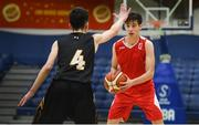21 January 2019; Rodrigo Gonzalez of Colaiste Muire Crosshaven in action against Thomas Kerr of St Pats Navan during the Subway All-Ireland Schools Cup U16 B Boys Final match between St Pats Navan and Colaiste Muire Crosshaven at the National Basketball Arena in Tallaght, Dublin. Photo by David Fitzgerald/Sportsfile
