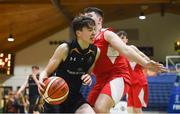 21 January 2019; Jake Morris of St Pats Navan in action against Eoin McDaid of Colaiste Muire Crosshaven during the Subway All-Ireland Schools Cup U16 B Boys Final match between St Pats Navan and Colaiste Muire Crosshaven at the National Basketball Arena in Tallaght, Dublin. Photo by David Fitzgerald/Sportsfile