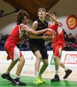 21 January 2019; Ethan McBride of St Pats Navan in action against Josh McCarthy, left, and Conor Finn of Colaiste Muire Crosshaven during the Subway All-Ireland Schools Cup U16 B Boys Final match between St Pats Navan and Colaiste Muire Crosshaven at the National Basketball Arena in Tallaght, Dublin. Photo by David Fitzgerald/Sportsfile