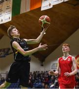 21 January 2019; Ethan McBride of St Pats Navan scores a lay-up ahead of Conor Maguire of Colaiste Muire Crosshaven during the Subway All-Ireland Schools Cup U16 B Boys Final match between St Pats Navan and Colaiste Muire Crosshaven at the National Basketball Arena in Tallaght, Dublin. Photo by David Fitzgerald/Sportsfile