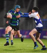 21 January 2019; Brian Cushe of Gorey Community School in action against Hamish King of St Andrew's College during the Bank of Ireland Fr. Godfrey Cup 2nd Round match between St Andrews College and Gorey Community School at Energia Park in Dublin. Photo by Sam Barnes/Sportsfile