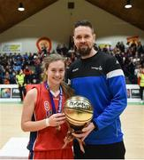 21 January 2019; Jason Killeen from Basketball Ireland presents the MVP award to Marie Creeden of Presentation SS, Thurles following the Subway All-Ireland Schools Cup U19 B Girls Final match between Colaiste Pobail Setanta and Presentation SS, Thurles at the National Basketball Arena in Tallaght, Dublin. Photo by David Fitzgerald/Sportsfile