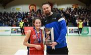 21 January 2019; Jason Killeen from Basketball Ireland presents the trophy to Laura Daly of Presentation SS, Thurles following the Subway All-Ireland Schools Cup U19 B Girls Final match between Colaiste Pobail Setanta and Presentation SS, Thurles at the National Basketball Arena in Tallaght, Dublin. Photo by David Fitzgerald/Sportsfile