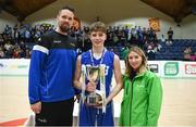 21 January 2019; Jason Killeen from Basketball Ireland, left, and Kirby Axon, Subway Marketing Assistant, present the trophy to Brian Gaffeny of St Joseph's Bish, Galway followin the Subway All-Ireland Schools Cup U16 A Boys Final match between Calasantius College and St Joseph's Bish Galway at the National Basketball Arena in Tallaght, Dublin. Photo by David Fitzgerald/Sportsfile