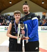 21 January 2019; Jason Killeen of Basketball Ireland presents the trophy to Ethan McBride of St Pats Navan following the Subway All-Ireland Schools Cup U16 B Boys Final match between St Pats Navan and Colaiste Muire Crosshaven at the National Basketball Arena in Tallaght, Dublin. Photo by David Fitzgerald/Sportsfile