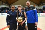 21 January 2019; Jason Killeen, right, and Matthew Hall of Basketball Ireland present the MVP award to Ethan McBride of St Pats Navan following the Subway All-Ireland Schools Cup U16 B Boys Final match between St Pats Navan and Colaiste Muire Crosshaven at the National Basketball Arena in Tallaght, Dublin. Photo by David Fitzgerald/Sportsfile