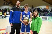 21 January 2019; Jason Killeen from Basketball Ireland, left, and Kirby Axon, Subway Marketing Assistant, present the MVP award to Brian Gaffeny of St Joseph's Bish, Galway followin the Subway All-Ireland Schools Cup U16 A Boys Final match between Calasantius College and St Joseph's Bish Galway at the National Basketball Arena in Tallaght, Dublin. Photo by David Fitzgerald/Sportsfile