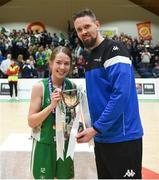 21 January 2019; Jason Killeen of Basketball Ireland presents the trophy to Ava Heffernan of Scoil Ruain Killenaule following the Subway All-Ireland Schools Cup U16 B Girls Final match between Scoil Ruain Killenaule and St Mary's Ballina at the National Basketball Arena in Tallaght, Dublin. Photo by David Fitzgerald/Sportsfile
