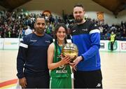 21 January 2019; Jason Killeen, right, and Matthew Hall from Basketball Ireland present the MVP award to Niamh Hayes of Scoil Ruain Killenaule following the Subway All-Ireland Schools Cup U16 B Girls Final match between Scoil Ruain Killenaule and St Mary's Ballina at the National Basketball Arena in Tallaght, Dublin. Photo by David Fitzgerald/Sportsfile