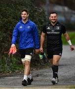 21 January 2019; Caelan Doris, left, and Jack Aungier arrive for Leinster Rugby squad training at Rosemount in UCD, Dublin. Photo by Ramsey Cardy/Sportsfile