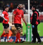19 January 2019; Marcell Coetzee of Ulster after picking up an injury during the Heineken Champions Cup Pool 4 Round 6 match between Leicester Tigers and Ulster at Welford Road in Leicester, England. Photo by Ramsey Cardy/Sportsfile